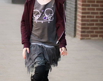 8-10yrs Zombie Love sweater top by Love Rocky the zombie Grey Halloween Heart stars