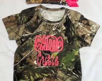Camo Cutie Realtree Baby Bodysuit Beanie Hat Bow
