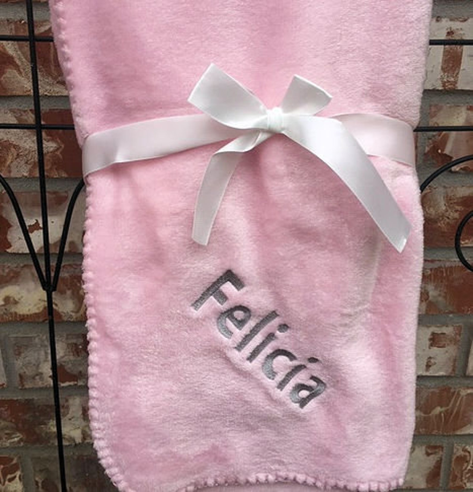 soft pink let's dance baby blanket with pink ballet shoes personalized monogram embroidery