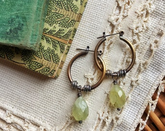 Prehnite Brass and Sterling Earrings