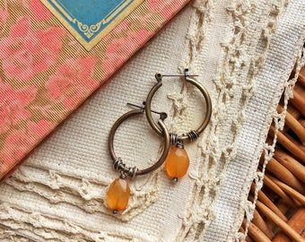 Carnelian Brass and Sterling Earrings