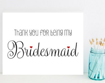 Thank you for being my bridesmaid - Card for Bridesmaid - Bridesmaid Thank You Card - Maid of Honor Thank You - Matron of Honor Thank You