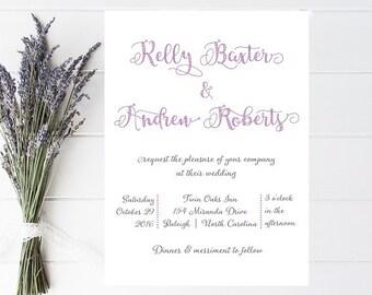 Whimsical, Fun Wedding Invitations - Informal Wedding Invitation - Purple Wedding Invites