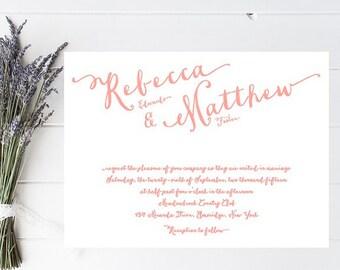 Whimsical Wedding Invitation - Coral Pink Wedding Invitations
