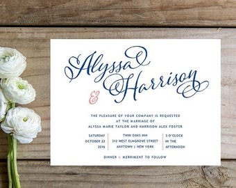 Navy Calligraphy Wedding Invitations - Sample