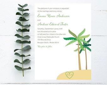 Palm Tree Beach Wedding Invitations - Sample
