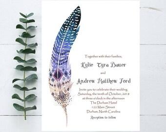 Boho Feather Wedding Invitation- Sample