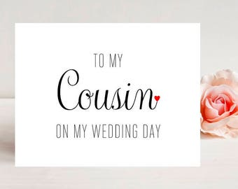 Card for Cousin - Card for wedding - Wedding Cards- Wedding Card - To My Cousin On My Wedding Day