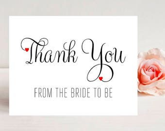 Thank You From The Bride To Be - Card for wedding - Wedding Cards - Thank you from the Bride