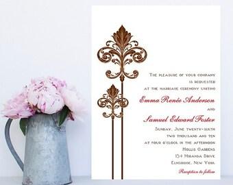 Fleur de lis wedding invitation   Etsy