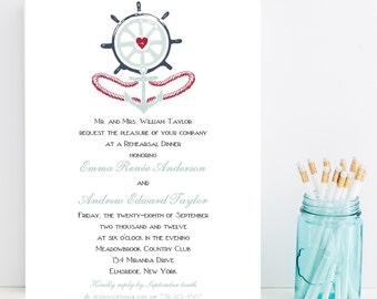 10 Nautical Rehearsal Dinner Invitations - Nautical Beach Wedding Rehearsal Dinner Invitations