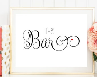 Bar Sign, Wedding Bar Sign, Wedding Reception Sign, Printed Wedding Sign