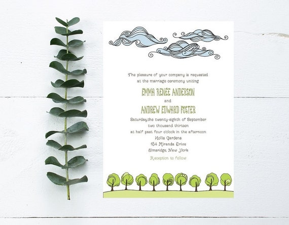 Nature Wedding Invitations Clouds Trees Grassy Theme