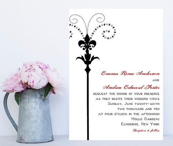 Fleur de lis Wedding Invitations New Orleans Theme Wedding | Etsy