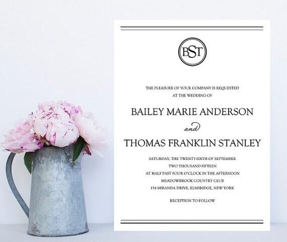 Monogram Wedding Invitation Traditional Invitation Simple