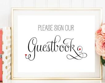 Guestbook Wedding Sign, Wedding Reception Sign, Printed Wedding Sign