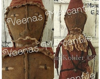 INSTANT Download Primitive Santa Doll Pattern PDF E Patterns Vintage Folk Art Christmas Santos Holiday Kim Kohler Veenas Mercantile