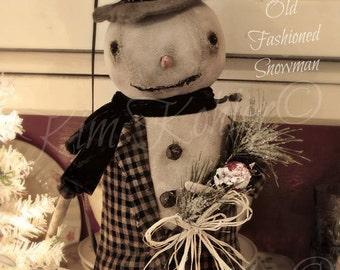Primitive Snowman Doll Pattern INSTANT Download E E-Pattern PDF Patterns Folk Art Fabric Cloth Winter Christmas Kim Kohler
