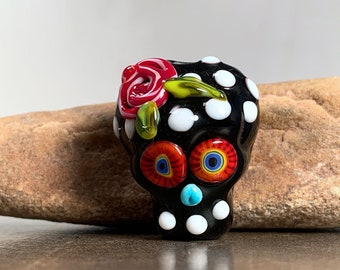 Sugar Skull Lampwork Focal Bead,  Day of the Dead, Black and White,  Divine Spark Designs