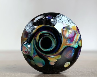 Organic Style Lampwork Lentil Focal Bead in Black Swirled with Frit for Jewelry Designs or Pendant, Divine Spark Designs