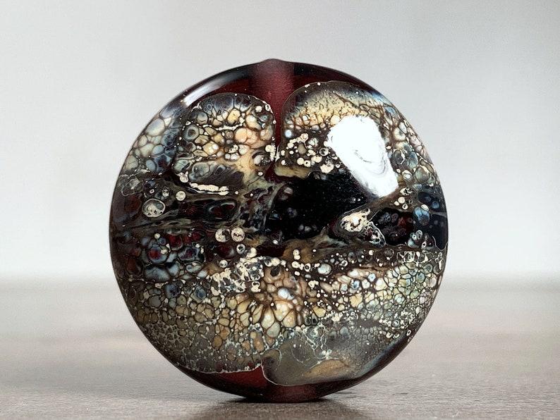 Artisan Glass Focal Bead Lentil for Jewelry Designs or Gift for Beader Rustic Organic Lampwork Focal Black Beige Purple