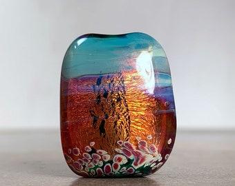 Lampwork Glass Focal Bead for Jewelry Making, Artisan Glass Bead Fire Opal Style, Pink Orange