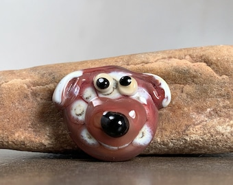 Whimsical Lampwork Glass Dog Face Cabochon, Unique Lampwork Cabs for Beadweaving