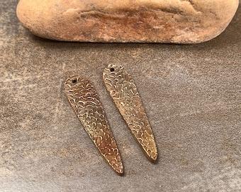 Bronze Metal Clay Earring Bead Pair for Jewelry Designs, Reversible Design, Rustic Bronze Dangles, Divine Spark Designs