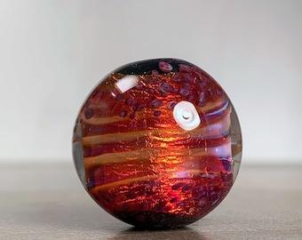 Round Lampwork Bead or Pendant, Fiery Orange & Magenta Art Glass Focal Bead for Jewelry Designs, Fire Opal Series