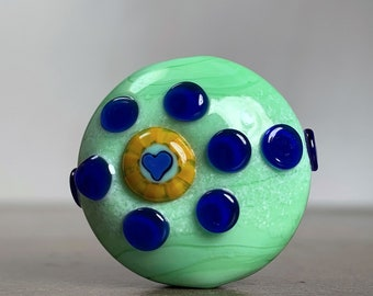 Whimsical Artisan Glass Heart Focal Bead, Lampwork Art Glass for Jewelry Designs, Soft Green with Blue