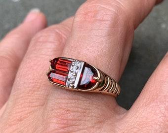 Epic 14K Garnet & Diamond Ring
