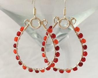 Teardrop Earrings in Red