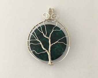 Tree of Life Malechite Jasper Pendant