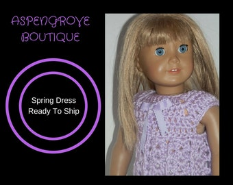 18 inch doll crocheted handmade Lavender top dress Ready to ship