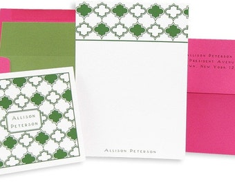 Green\/Pink Stationery box of 10