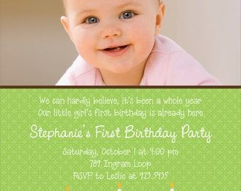 Cupcakes First Birthday Photo Invitation