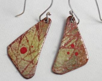 Abstract Triangle Enamel Earrings