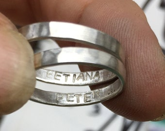 Personalized Stamped Sterling Silver Band Ring