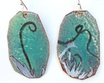 Enamel Earrings - Passionflower Plant - leaf stencil art