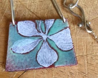 Hydrangea Enamel Pendant I - Hand Painted One of a Kind