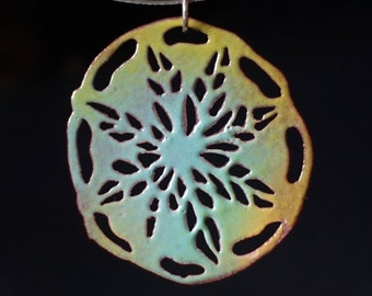 Pierced Mandala Enamel Pendant