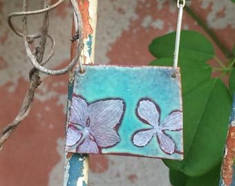 Hydrangea Enamel Pendant II - Hand Painted One of a Kind