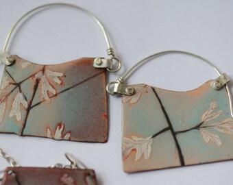 Blade Enamel Earrings - OOAK - Hand painted botanical motif -  N.6