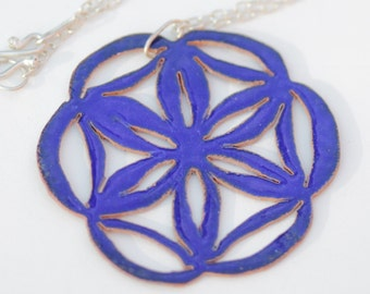 Blue Pierced Mandala Enamel Necklace - Flower of Life Necklace
