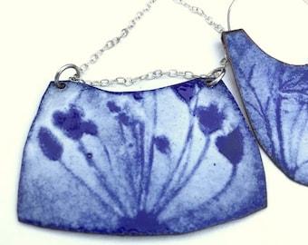Cobalt Blue Enamel Pendant I - Reversible - One of a Kind