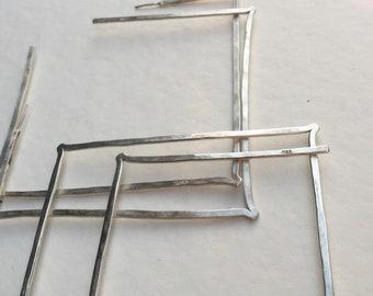 Square Sterling Silver Hoop Earrings