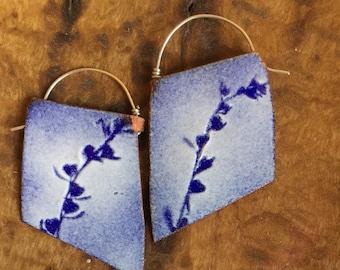 Cobalt Blue Blade Enamel Earrings - OOAK -  botanical motif - N. 7
