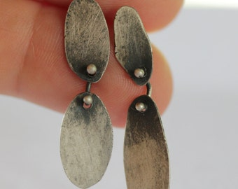 Recycled Sterling Silver Two Piece Asymmetrical Earrings