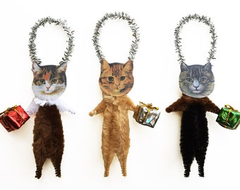 Christmas Cat Ornaments Holding Gifts - Purrfect Pet Lover Stocking Stuffer