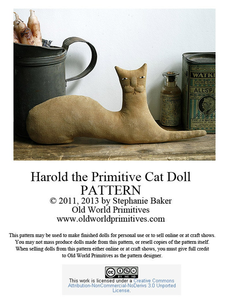 Primitive E-Pattern  Harold the Primitive Cat Doll  PDF File image 0